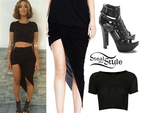 Beyonce: Rib Crop Tee, Wrapped Skirt | Steal Her Style
