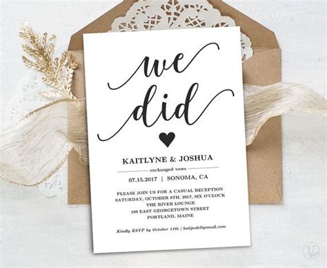 elopement reception invitation printable elopement
