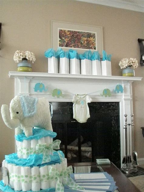 boys shower elephant baby shower ideas blue and green