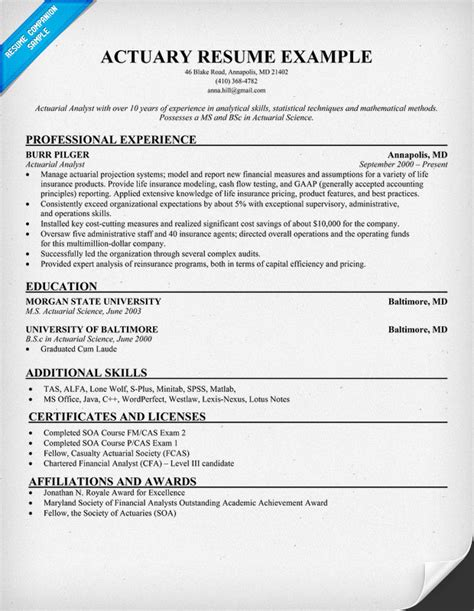 Actuary Resume Tips by Actuary Resume Resume Sles Across All Industries Resume Exles And Hacks