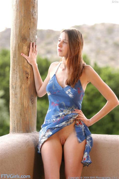 hot amateur in a blue sundress