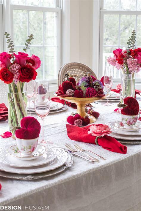 valentines day decorations plush velvet hearts tablescape