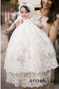 2016 Vintage baby girls Christening gowns baptism dresses for girl boys toddlers outfit half ...