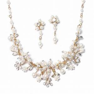 Gold Bridal Jewelry Set Pearl Crystal Necklace Earrings ...