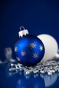 Silver, White, And, Blue, Christmas, Ornaments, On, Dark, Blue, Background, Merry, Christmas, Card, Stock