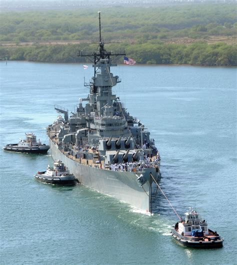 Uss Missouri (bb-63) Pulled Towards Pearl Harbor To