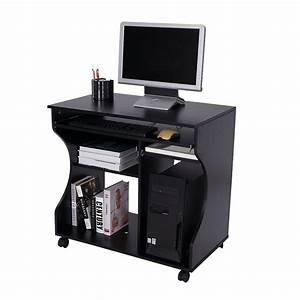 Computertisch Auf Rollen : computertisch auf rollen b80xt48xh76cm schwarz homcom ~ Watch28wear.com Haus und Dekorationen