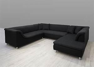 Ecksofa U Form : dreams4home polsterecke loree sofa wohnlandschaft ecksofa couch xxl u form grau schwarz ~ Eleganceandgraceweddings.com Haus und Dekorationen