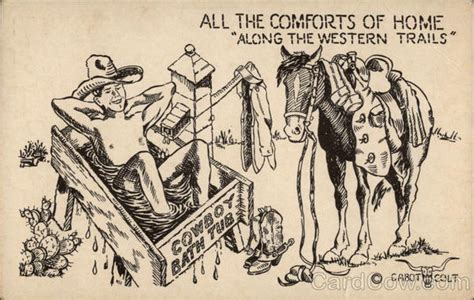 cartoon  cowboy bath tub bw drawing cowboy western