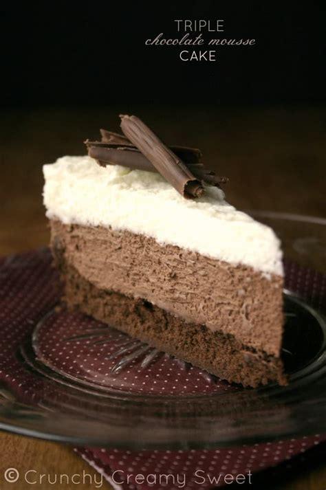 triple chocolate mousse cake recipe card crunchy creamy