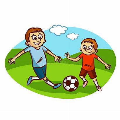 Football Playing Clipart Dad Son Clip Cliparts