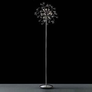 Brizzo lighting stores 64quot sfera modern crystal floor for Chrome halogen floor lamp