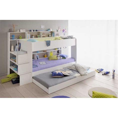 lit superposé chambre enfant coloris blanc avec tiroir