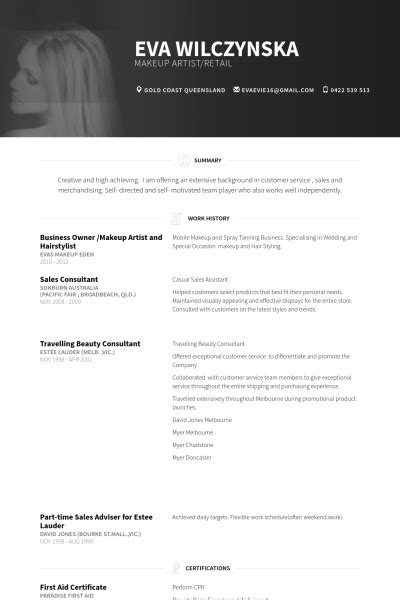 business owner makeup artist  hairstylist resume
