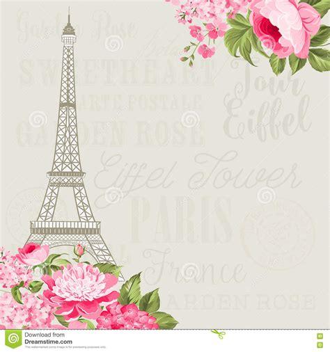 souvenir card  eiffel tower cartoon vector
