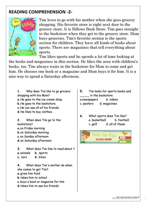 reading comprehension for beginner and elementary students 2 esl worksheets