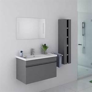 Meuble Salle De Bain Suspendu : beau meuble de salle de bain gris taupe suspendu meuble ~ Melissatoandfro.com Idées de Décoration