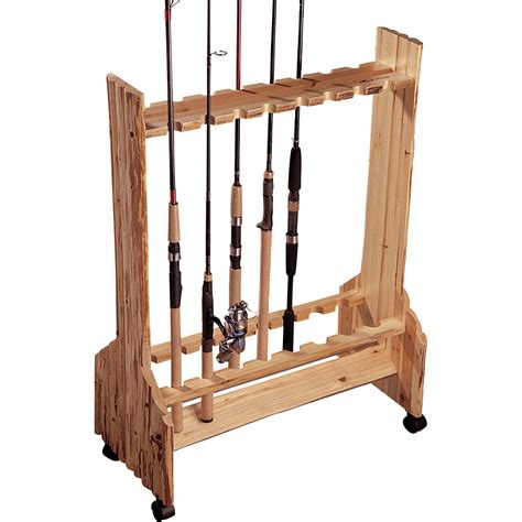fishing pole storage rack creek wooden sided 16 fishing rod holder