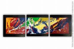 Tableau Triptyque Moderne : tableau triptyque moderne un monde plein de couleurs ~ Teatrodelosmanantiales.com Idées de Décoration