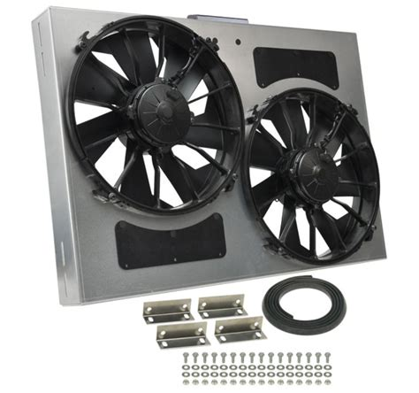 dual electric fans with shroud derale 26 quot dual high output electric radiator fan w