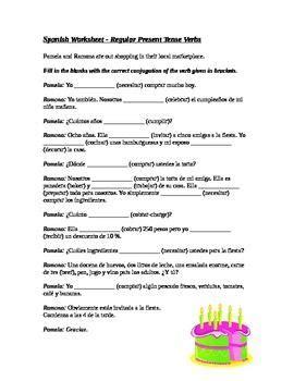 spanish present tense regular verbs worksheet  images
