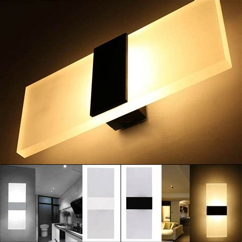 modern led wall lighting up down cube indoor outdoor bedroom sconce l fixture ebay