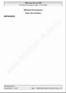 Dodge Ram Van B250 1986 Wiring Diagrams Sch Service Manual
