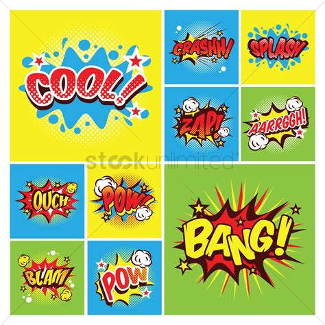 Comic Word Collection Vector Image Stockunlimited
