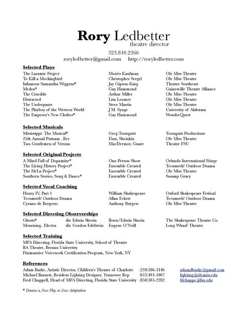 Theatrical Resume Template by Theatre Director Resume Resume Ideas