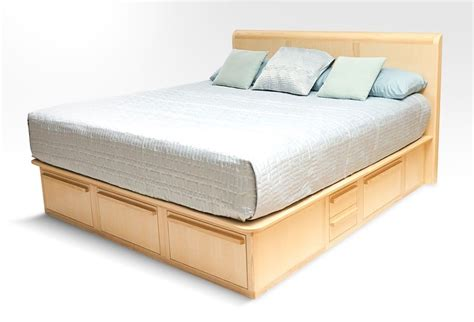 Custom Platform Storage Bed With Headboard & Nightstands