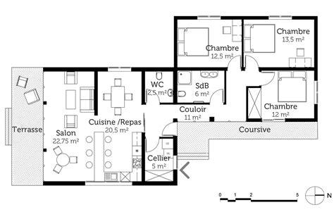 plan maison plain pied 3 chambres en l plan maison plain pied en l avec 3 chambres ooreka