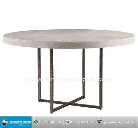 meja kayu bulat kombinasi besi aswan jaya meubel