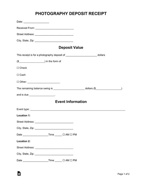 photography deposit receipt template word