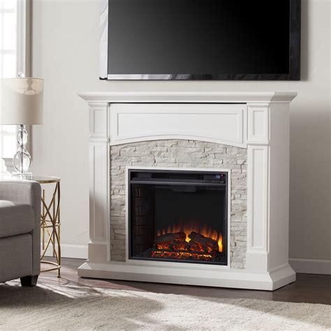 seneca electric media fireplace white  white