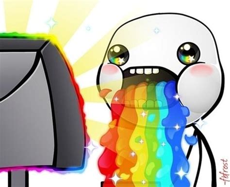 Rainbow Throw Up Meme - rainbow puke hd puking rainbows know your meme