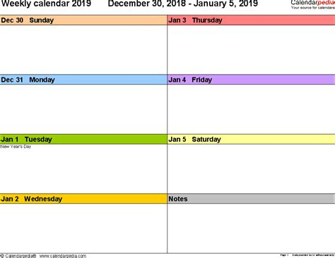 weekly calendars      printable templates
