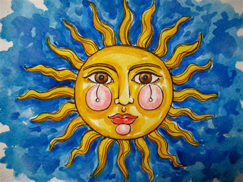 Abstract Painting Sun Face Brown Eyes Red Lips Blue Sky