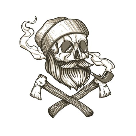 Skull With Beard Lumberjack Skull Beard T Shirt Teepublic