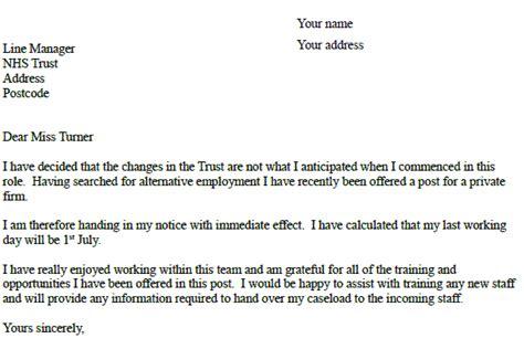 nhs resignation letter  resignation letter examples