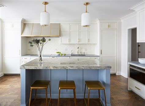 white kitchen island with stools gold metal counter stools with blue island transitional 1823