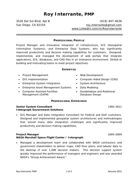 Sle Resume Of Pmp Certified Project Manager by Resume Roy Interrante Pmp