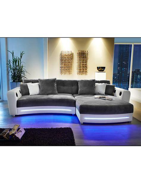 canapé high tech canapé d 39 angle avec système hi fi blanc gris