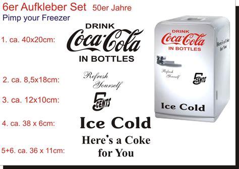 coca cola aufkleber 6 teiliges coca cola k 252 hlschrank aufkleber set 5 cent