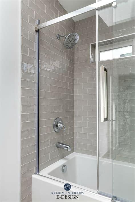 bathroom warm gray greige subway tile glass tile
