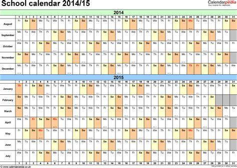 2014 15 Academic Calendar Template by School Calendars 2014 2015 As Free Printable Word Templates