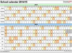 School calendars 20142015 as free printable Word templates
