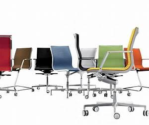 NULITE chaise design en cuir de bureau pied fixe pivotant