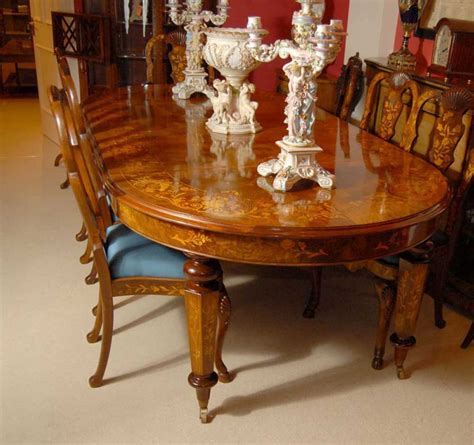 foot italian marquetry dining table  queen anne chairs