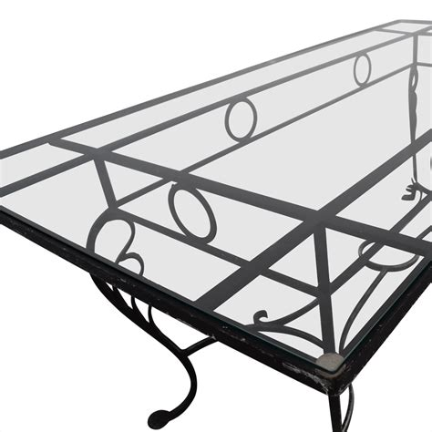 80% Off  Vintage Wrought Iron Base And Glass Top Dining