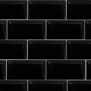 Subway Black 10cm X 20cm Wall Tile FYLDE TILES